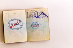 Visas denied stamp in passport Stock Image