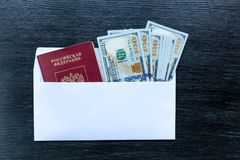 Visas in foreign passports. stock photo