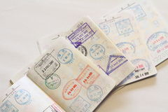 Visas on Japanese passort Royalty Free Stock Image