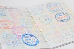 Visas on Japanese passort Stock Images