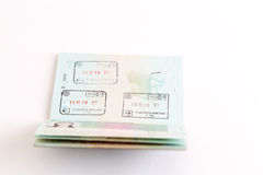 Visas and stamps in passport Royalty Free Stock Image