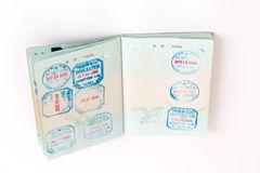Visas and stamps in passport. Visa and customs stamps in passports Stock Photos
