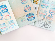 Visas and stamps in passport Stock Photo