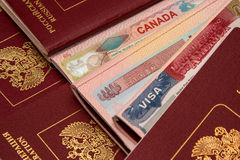 Visas v1. American Japanese Canadian Visas for Russian people Stock Photo