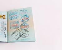 Visas y sellos en pasaporte Foto de archivo