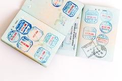 Visas y sellos en pasaporte Imagenes de archivo