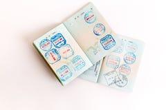 Visas y sellos en pasaporte Imágenes de archivo libres de regalías