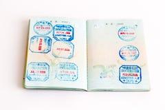 Visas y sellos en pasaporte Fotografía de archivo libre de regalías