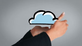 Visasende målat moln för handvisning stock video