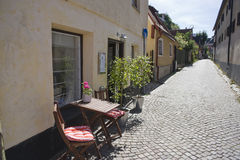 Visby street scene. Houses and cobbled street in Visby locality, Gotland island, Sweden Stock Photos