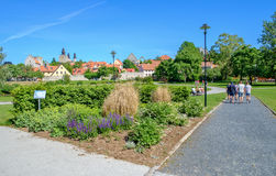 Visby, Sweden. June 10, 2014: Famous park Almedalen in medieval Visby. Almedalen hosts politicians week annually in early July since 1982 which gathers Stock Images