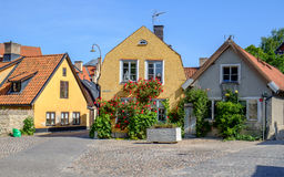Visby, Sweden. Residential buildings in medieval Hanse town Visby in Sweden Stock Photo