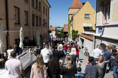Visby, Sweden. 06th July, 2017. People walking on the crowded st Stock Photo