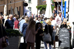 Visby, Sweden. 03th July, 2017. People walking on the crowded st Royalty Free Stock Photography