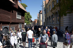 Visby, Sweden. 03th July, 2017. People walking on the crowded st Royalty Free Stock Photos