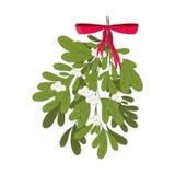 Vischio di Natale con il nastro rosso Fotografia Stock Libera da Diritti