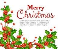 Visco liso decorativo Ramos com as folhas vermelhas do verde das bagas Ornamento do Natal Ilustração do vetor isolada no CCB bran ilustração stock