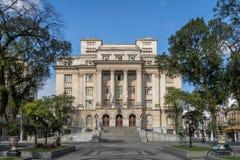 Visconde de Maua Quadrado e Santos City Hall - Santos, Sao Paulo, Brasil imagem de stock