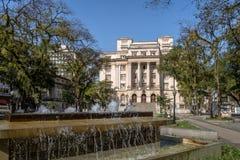 Visconde de Maua Quadrado e Santos City Hall - Santos, Sao Paulo, Brasil foto de stock royalty free