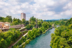 Visconti castle  and Adda river in Trezzo sull'Adda. View on the massive Visconti castle  and Adda river in Trezzo sull'Adda, region Lombardy, Italy Royalty Free Stock Images