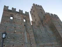 Visconti Castle in Castell`Arquato. Visconti Castle was the seat of the Visconti garrison and has a quadrangular plan with four towers, a mastio and a ditch stock images