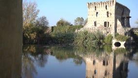 Viscount Bridge of Borghetto Valeggio on Mincio Vr Italy stock footage