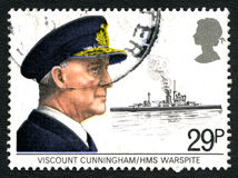 Viscount Cunningham and HMS Warspite Postage Stamp Royalty Free Stock Photos