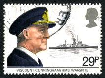 Viscount Cunningham och portostämpel för HMS Warspite Royaltyfria Foton
