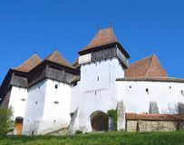 Viscri在特兰西瓦尼亚加强了教会,罗马尼亚 库存照片