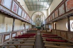 Viscri fortificó la iglesia, una visión desde dentro de la iglesia foto de archivo libre de regalías
