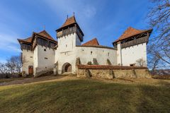 Viscri fortificou a igreja A Transilvânia, Romênia, Fotos de Stock