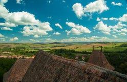 Viscri ha fortificato la chiesa, Transylvania, Romania Fotografie Stock Libere da Diritti