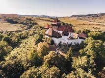 Viscri-Kirche Siebenbürgen Rumänien Künstlerischer Weinleseeffekt appl Stockbilder