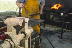 Vise and anvil in a forge shop Royalty Free Stock Photo