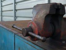 Vise desk. Outdoor rusty dirty vise desk Stock Image