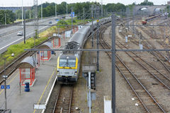 Vise railway station platform and train Stock Photos