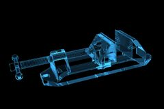 Vise X-Ray Blue Transparent. Vise 3D X-Ray Blue Transparent Royalty Free Stock Images