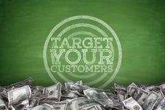 Vise seus clientes no quadro-negro ilustração stock