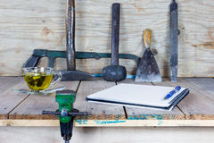 The vise to clamp with wooden desk,selected focus Stock Photo