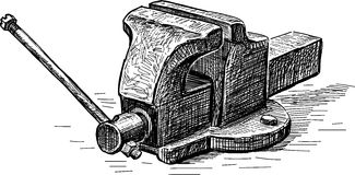 Vise. Vector drawing of the old vise grip royalty free illustration