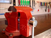 Vise and workbench. Work Object, image tools, vise and workbench Royalty Free Stock Photos