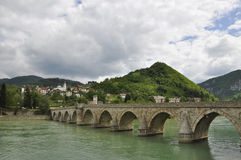 Visegrad bridge, or the bridge of Mehmed Pasha, Visegrad, Bosnia and Herzegovina stock images