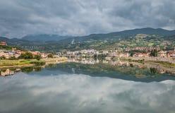 Visegrad, city scape. View on coast of Drina river - Visegrad city, Bosnia and Herzegovina, Balkans Stock Image
