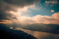 Visegrad Hungary, Danube sunset river Stock Photos