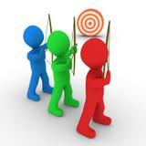 Viser différent d'archers et une cible Photo stock