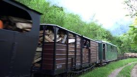 VISEUL DE SUS,罗马尼亚- 2017年6月05日:蒸汽动力的活动火车叫在狭窄测量仪铁路的Mocanita在Vaser谷  股票录像