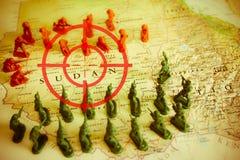 Viseur rouge au-dessus des rebelles sur le territoire du Soudan : foyer sur le conflit du Soudan Photographie stock