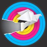 Visez avec l'oiseau d'origami Photo stock