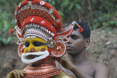 Kannur, Kerala, India, Hindu man dressing as Vishnu for theTheyyam Ritual Royalty Free Stock Image