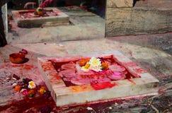 Vishnu fotspår Jagdish tempel Udaipur Rajasthan india Arkivbilder